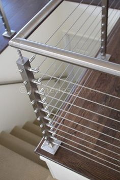 Modern Staircase railing Design Ideas, Pictures, Remodel and Decor Modern Staircase Railing, Cable Stair Railing, Modern Stairs, Deck Railings, Banisters, Railing Ideas, Glass Railing, Staircases, Steel Railing Design