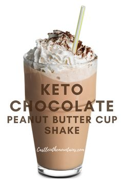 Creamy Keto Peanut Butter Cup Smoothie ~ 6 Net Carbs Smooth, Creamy and satisfying as breakfast, a snack or dessert. These are perfect for burger night or post workout too. You can't go wrong with the classic combination of peanut butter and chocolate. Low Carb Drinks, Low Carb Desserts, Low Carb Recipes, Diet Recipes, Steak Recipes, Easy Keto Recipes, Keto Desert Recipes, Best Keto Meals, Chicken Recipes