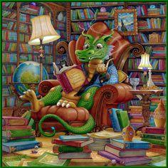 The Literate Dragon ~ illustration by RandaSpangler.com #books #fairytale #illustration