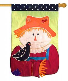 Scarecrow Friends Sculpted Applique House Flag