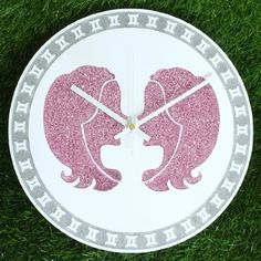 "Zodiac Sign GEMINI Wall Clock DIA 12"" Inch Silver and Pink Glitter Colour: White Clock Hands"