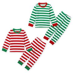Christmas Baby Kids Boys Girls Striped Nightwear Pajamas Set Sleepwear 1-7 Years
