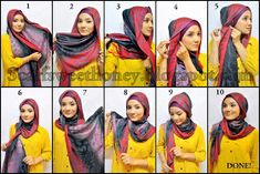 Hijab Styling Tutorials by Scarf SweetHoney Hijab Style Tutorial, Head Scarf Styles, Leopard Fashion, Hijab Fashion Inspiration, Turban Style, Satin Roses, Loop Scarf, How To Wear Scarves, Abaya Fashion