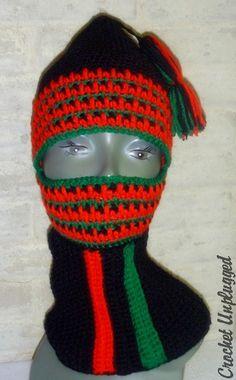 c0e58c906fa Red Black and Green Ski Mask Balaclava by Crochet Unplugged Balaclava