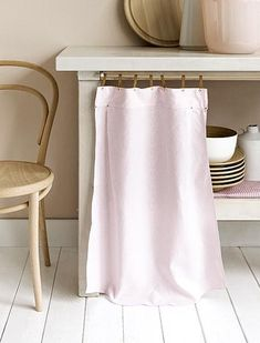 How To Cleverly Conceal Clutter:  DIY Fabric Curtains, Skirts & Covers