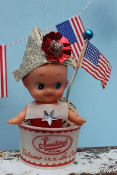 Vintage Style Kewpie Sailor Fourth of July Row Row by MagpieEthel Fourth Of July Decor, Happy Fourth Of July, 4th Of July Party, July 4th, Patriotic Crafts, July Crafts, Patriotic Decorations, Holiday Crafts, Newspaper Hat