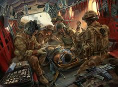 Oil painting commissioned by the Special Forces Medical Group in A Medical Emergency Response Team (MERT) aboard a Chinook above Southern Afghanistan, battles to save the life of an injured soldier. Anime Military, Military Gear, Military Personnel, Military History, Military Memes, Army Medic, Combat Medic, Military Sleeve Tattoo, Military Tattoos