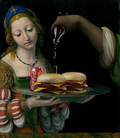 With The Burger Friday, the artist Gabriel Nardelli Araujo (previously featured) offers a very offbeat spin-off to his excellent series The Canvas Project. Photoshop, Food Art Painting, Classical Art Memes, Art Jokes, Classic Paintings, Arte Pop, Surreal Art, Funny Art, Famous Artists