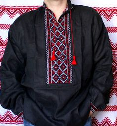 """NEW HANDMADE EMBROIDERED   UKRAINIAN MEN'S LINEN/FLAX PEASANT SHIRT    """"VYSHYVANKA""""    If you buy 5 or more any of my Embroidered Shirt,   I give you FREE SHIPPING    LINEN 100%    Size S, M, L, XL, XXL, 3XL, 4XL    You can choose white or red color of pattern.       Vyshyvanka (Ukrainian: Вишива́нка /ʋɪʃɪ'ʋanka/) is the Ukrainian traditional clothing which contains elements of Ukrainian ethnic embroidery. Many variations of its design were created. Usually, it was made of homemade linen…"""