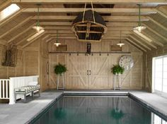 pool inside a barn