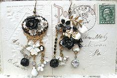 WOW are these showstoppers ! Prettiest black/white set yet :) Everything about these beauties is vintage upcycled jewelry bits and bobs with the exception of the filigrees on one earring and bows on both. approx. 3 1/2 & 3 including earwires