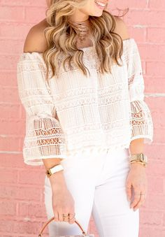 #spring #outfits  White Crochet Off The Shoulder Top & White Skinny Jeans