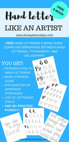 FREE hand lettering and brush lettering ebook.  45 pages of information, worksheets, and cute lettering examples #handlettering