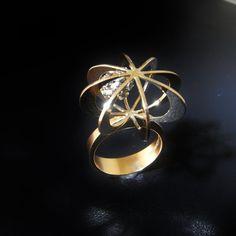 Modernistische Diamond Gouden Ring Elis Kauppi Mid Century Ring Kupittaan Kulta Scandinavische één van een soort Ring moderne minimalistische Ring 14K goud