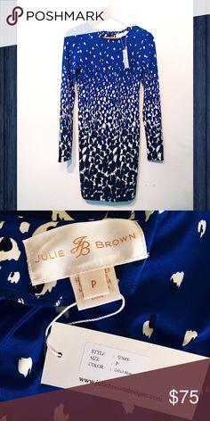 Art inspired Cobalt Monet Long Sleeve Dress Lightweight Stretch Jersey Knit Print Dress Julie Brown Dresses Long Sleeve