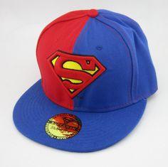 New DC Superman Adjustable Snapback Hat cap flat hat hiphop baseball Red  Blue e438ddda744a
