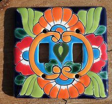 "Talavera Mexican Pottery Mexico double toggle Mexico 5"" light switch wall plate"