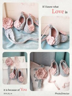 """These baby girl booties and  heanband will look adorable on your little princess. They make a unique gift for baby shower and new mom. Each shoe is 100% handmade with love❤ for your little angel, using an acrylic and wool blend yarn.               ♡SIZE GUIDE♡ Booties 0-3 months - 3.5"""" /  9cm 3-6 months - 4"""" / 10cm 6-9 months - 4.5"""" / 11.5 cm 9-12 months -5"""" / 12,5cm   Headband One size(length approx 29""""/74cm) Grey crochet headband with pink flow"""