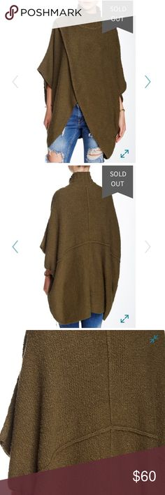 """Free People All Wrapped Up Poncho From Nordstrom: Free People redefines the pullover with this cozy, eye-catching turtleneck poncho that features a draped crossover front, billowy kimono sleeves and raised seams. Color: Martini (gorgeous olive green) 74% cotton, 18% acrylic, 7% nylon, 1% spandex. Hand wash.  Worn 2-3 times. 35"""" length 40"""" wide NOTE: This poncho is a size XS-S (it only came in XS-S or M-L) BUT I believe it to be a one size fits all product because of the drapey fit. Free…"""