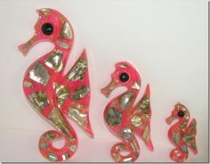 Vintage Set of 3 Pink Seahorse Mid Century Wall Decor Plaques