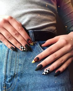 107 awesome acrylic coffin nails designs in summer page 40 Edgy Nails, Grunge Nails, Stylish Nails, Swag Nails, Black Nails, Summer Acrylic Nails, Best Acrylic Nails, Checkered Nails, Acylic Nails