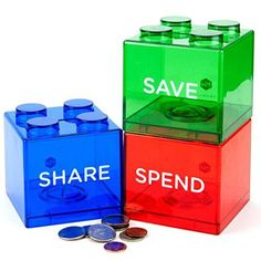 Maxwill Save Spend Share Piggy Bank for Kids - Clear Transparent Plastic Coin Banks for Boys & Girls - Teach Children About Giving & Saving Money - Block Banks Top Toys For Girls, Diy For Girls, 7 Year Old Christmas Gifts, Plastic Piggy Banks, Birthday Presents For Girls, Tween Girl Gifts, Cool Presents, Cool Toys, Teaching Kids
