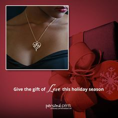 "Wondering what to gift your love this season? We are offering an exclusive Heart of Love package with a sterling silver necklace and a personalized print that spells out the word ""LOVE."""