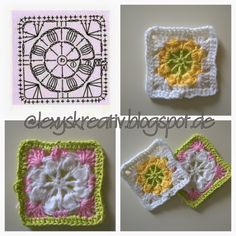 Diy Crochet Granny Square, Crochet Squares, Crochet Motif, Crochet Stitches, Knit Crochet, Crochet Patterns, Granny Squares, Garland, Diy And Crafts
