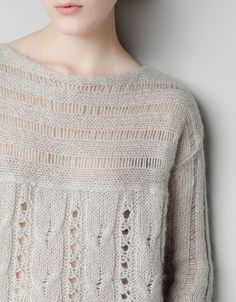 OPEN-WORK CABLE KNIT SWEATER  zara.ca