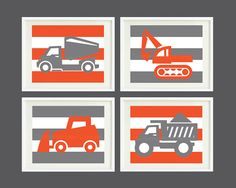 "Striped Construction Vehicle Art Print Set of 4 for Nursery, Kids Room, Home Decor - 8""x10"" - Choose your own colors - Trucks"