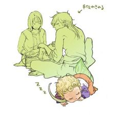 So this Giorno looking kid doesn't have a baby blanket with tags or anything, he just falls asleep on Daddy DIOsaur's tail? (╯°□°)╯︵ ┻━┻ NEW HEAD CANON! ;w;