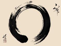 """Das Tao - der Weg ist das Ziel. Es wird mit einem Wasserlauf verglichen, der unaufhaltsam seinem Ziel entgegenstrebt. Tao wird auch mit dem Begriff Sinn übersetzt. -  """"The Enso (円相), or Zen circle, is one of the most appealing themes in Zen art. The Enso itself is a universal symbol of wholeness and completion, and the cyclical nature of existence."""