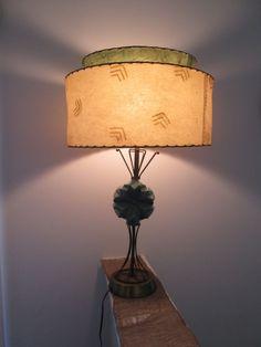 Vintage 1950's Turquoise Navajo Table Lamp Atomic Age Mid Century Aztec It works