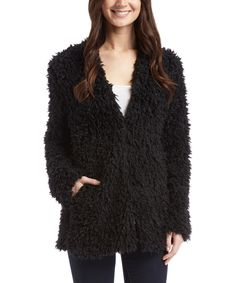 Another great find on #zulily! GO COCO Black Faux Fur Jacket by GO COCO #zulilyfinds