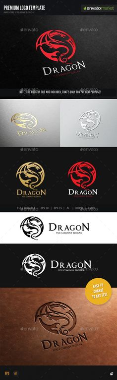 Dragon Logo Template EPS, AI #design #logotype Download: http://graphicriver.net/item/dragon/12896673?ref=ksioks