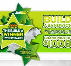 Win Free $100 Subway Gift Cards   $1000