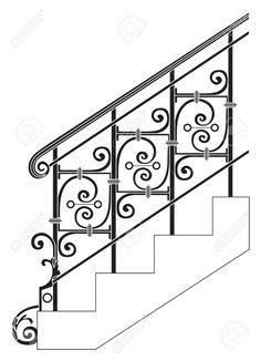 28774967-Barandas-de-metal-forjado-negro-con-motivos-florales-Vector-Foto-de-archivo.jpg (939×1300)