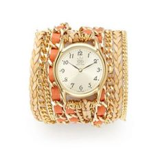 Coral Lambskin Leather Wrap Watch