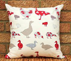 chicken duck cushion pillow cover sham 16 x by ThePurpleStitches, $21.00