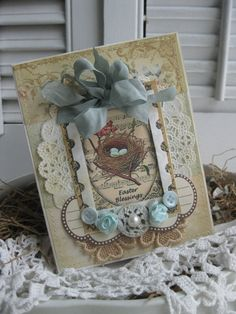 vintage style BLUE EGGS nest  easter greetings blue BIRDS stitched handmade card