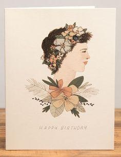 Floral Lady birthday card by LizzyStewart on Etsy, £2.00