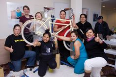 A bike workshop for Spanish-speaking women at Tania Bruguera's Immigrant Movement International in Queens, New York. COURTESY QUEENS MUSEUM
