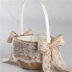 Burlap and Lace Flower Basket