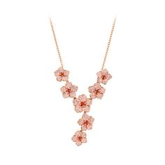 Mom will love and cherish this beautiful necklace. This stunning Bellarosa™ vintang necklace features a multiple flower design fashioned from 18 karat rose gold-plated sterling silver with rose and padparadcha colored crystals with Swarovski® elements. This fashion necklace is sure to turn a few heads.