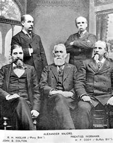 "The Founders of Pony Express. Sitting are founders Alexander Majors, William H. Russell, and William B. Waddell. Standing on the left is ""Pony Bob"" Haslam who was a rider for Pony Express while it was in business from 1860-1861."