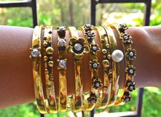 Gold stack with flower