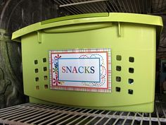 Easy/inexpensive way to store snacks and make them simple for the kiddos to get for themselves..Plus, they take up less room than all the boxes and bags..yippee