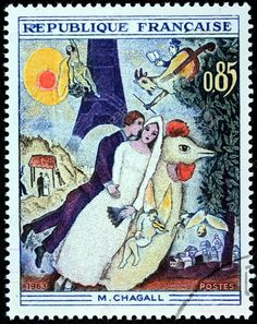 Issued -1963-a stamp printed by France shows engraving after painting married couple at the eiffel tower