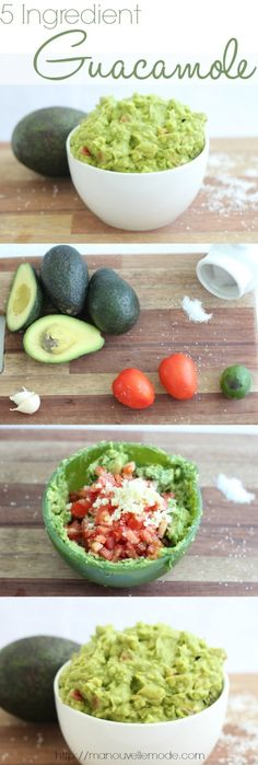 5 ingredients (or 6 if you want red onion) guacamole. 3 avocados, 2 tomatoes, salt, and 2 cloves minced garlic
