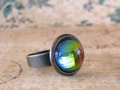 Llama on Sparkling Rainbow Silver Plated Adjustable Novelty Ring